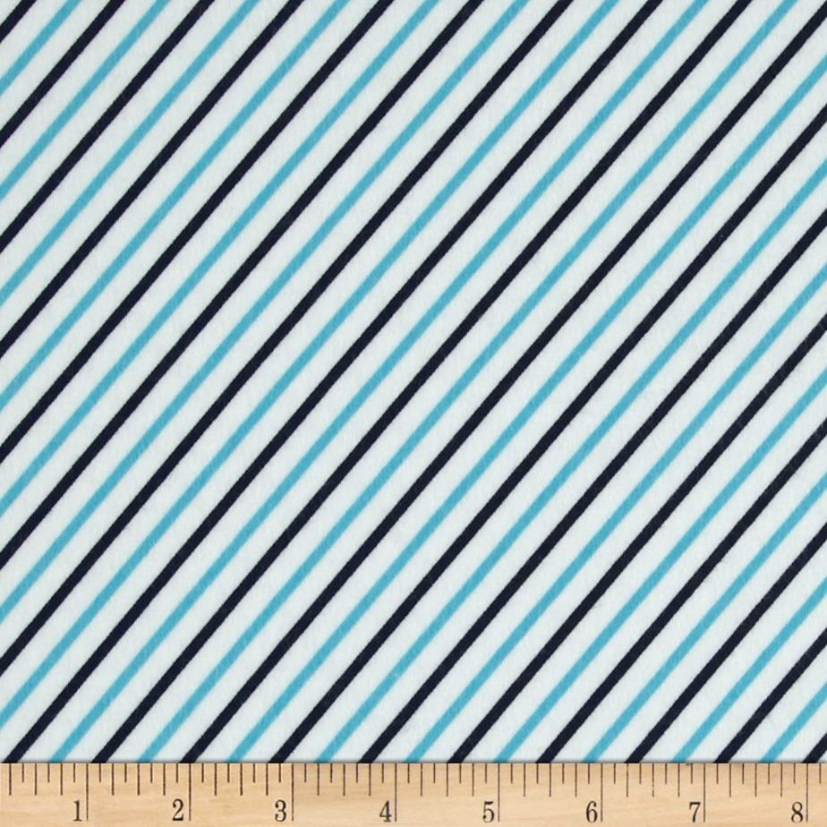 Cozy Cotton Flannel Bias Stripe Marine Fabric By The Yard