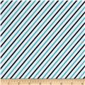 Cozy Cotton Flannel Bias Stripe Marine