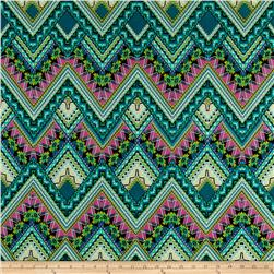 Aztec Stretch ITY Jersey Knit Jade/Pink/Cream