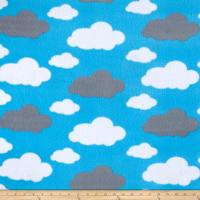 Simply Dreamy Clouds Fleece Blue Fabric By The Yard
