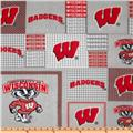 Collegiate Fleece University of Wisconsin Plaid Blocks Red/Gray