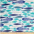 Michael Miller Lagoon Mod Fish Blue