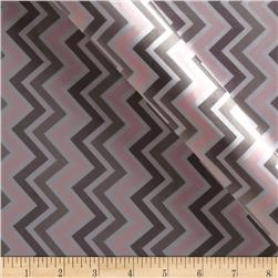 Charmeuse Satin Zig Zag Blush/Silver/White Fabric