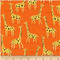 Timeless Treasures Born To Be Wild Giraffes Orange