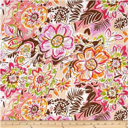 Crepe Georgette Flowers Pink/Brown/White Fabric