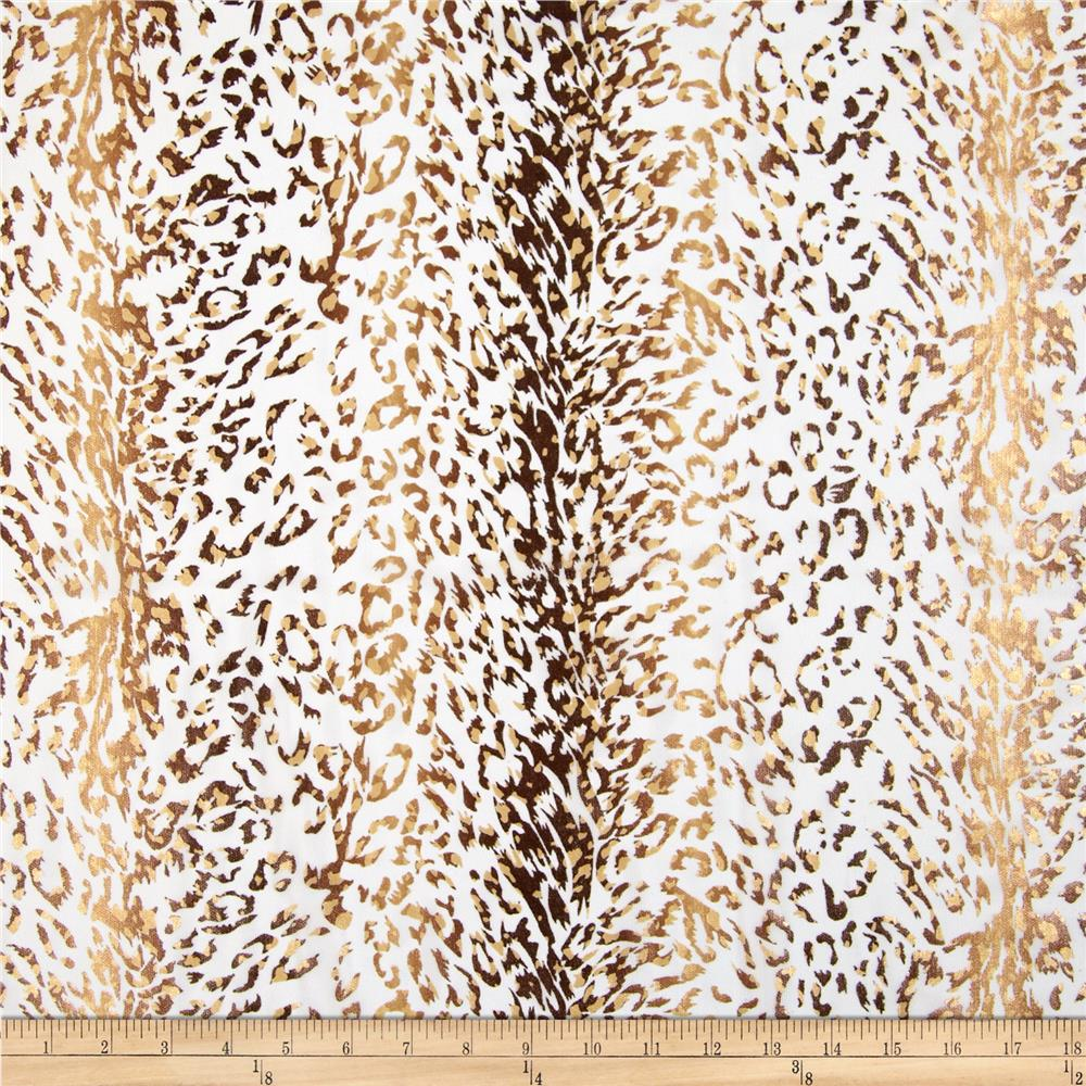 Printed Stretch Illusion Shaper Mesh Leopard Animal White/Brown