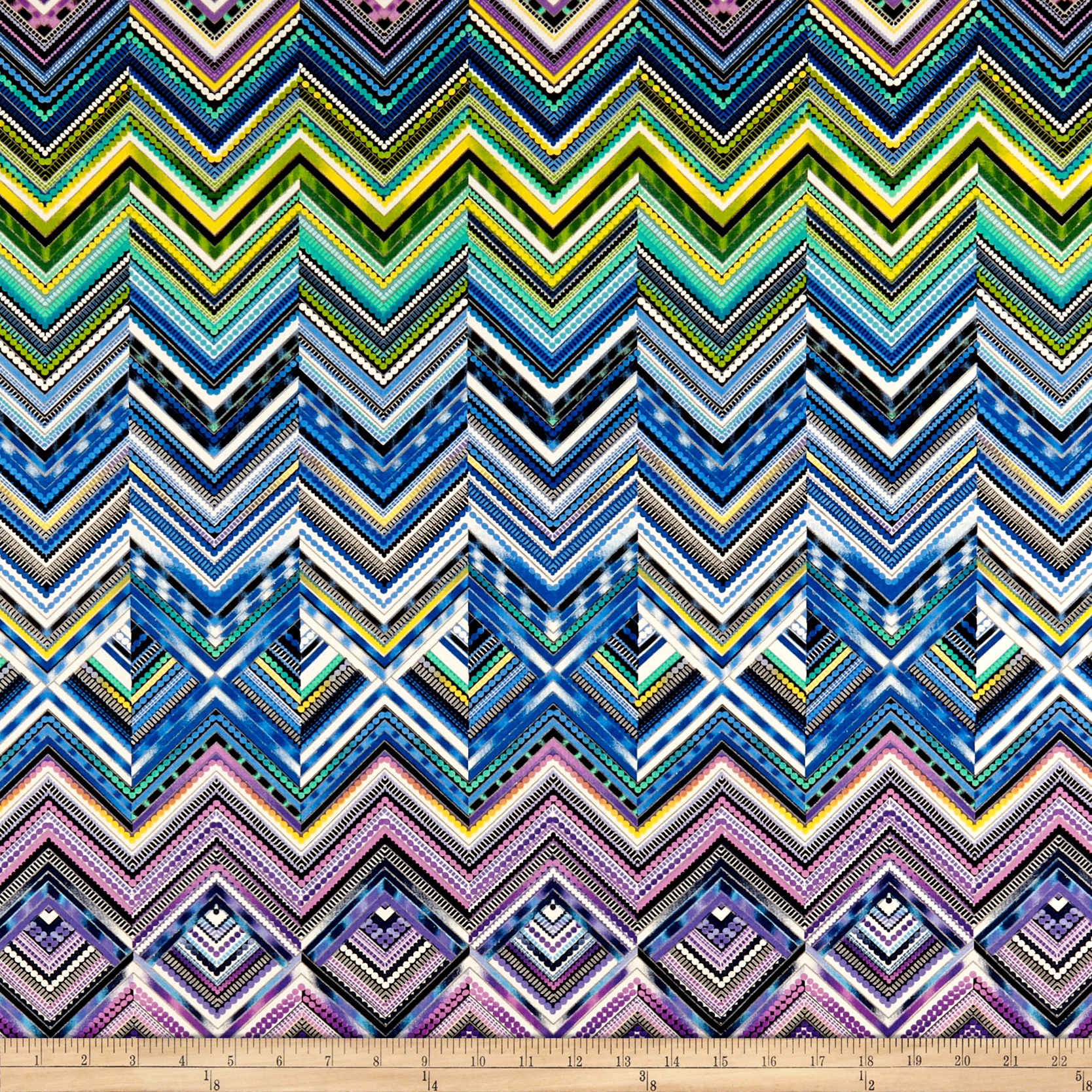 Modern Movement Chevron Geo Metallic Royal/Multi Fabric