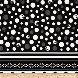 Kokka Skull Dots Double-Border Stripe Black Fabric