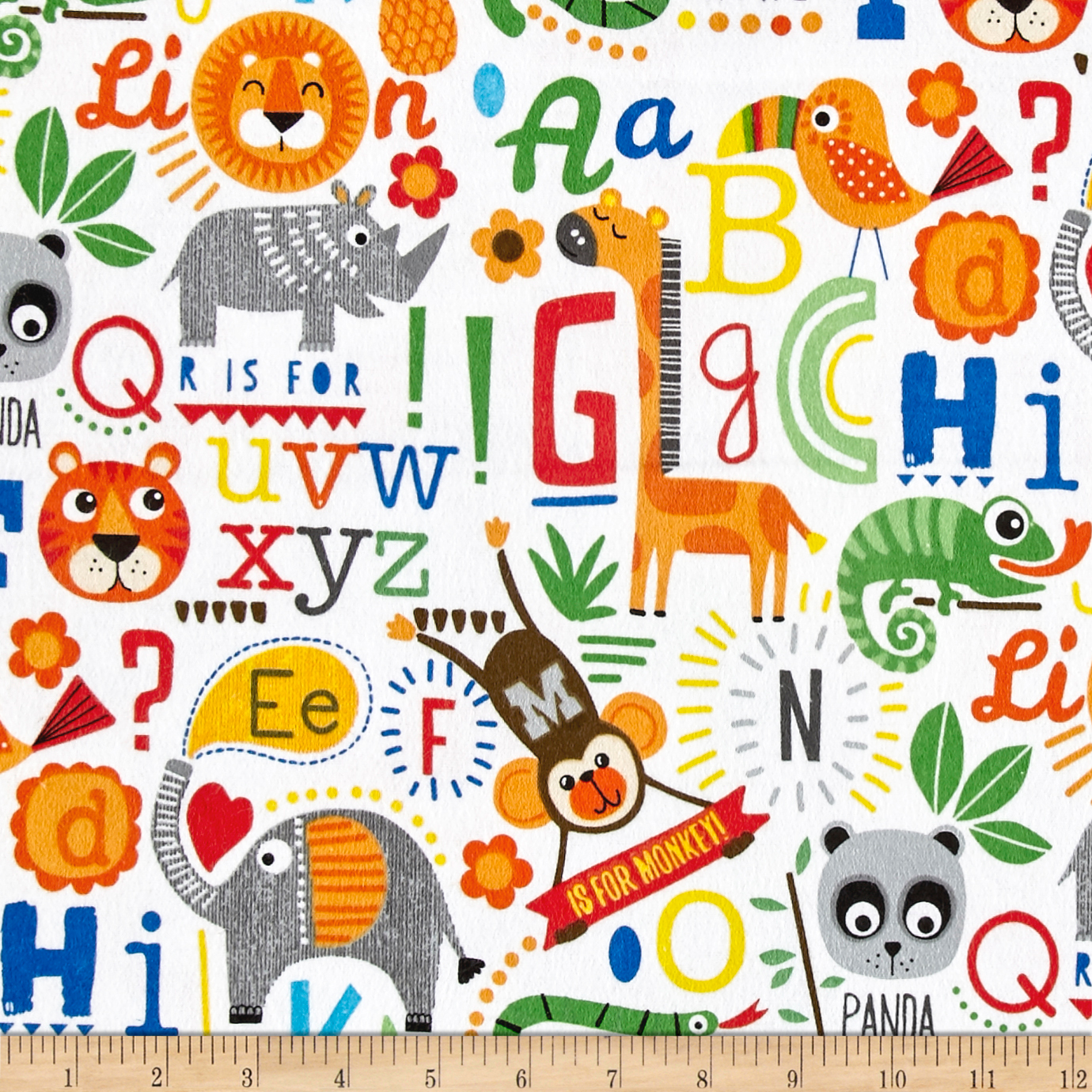 Comfy Flannel Alphabet Animals White Fabric by A. E. Nathan in USA