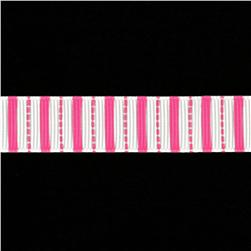 Riley Blake 5/8'' Grosgrain Ribbon Stripes Hot Pink