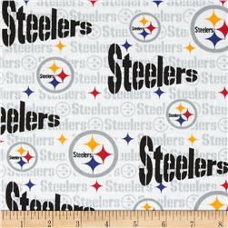 NFL Cotton Broadcloth Pittsburgh Steelers White/Multi