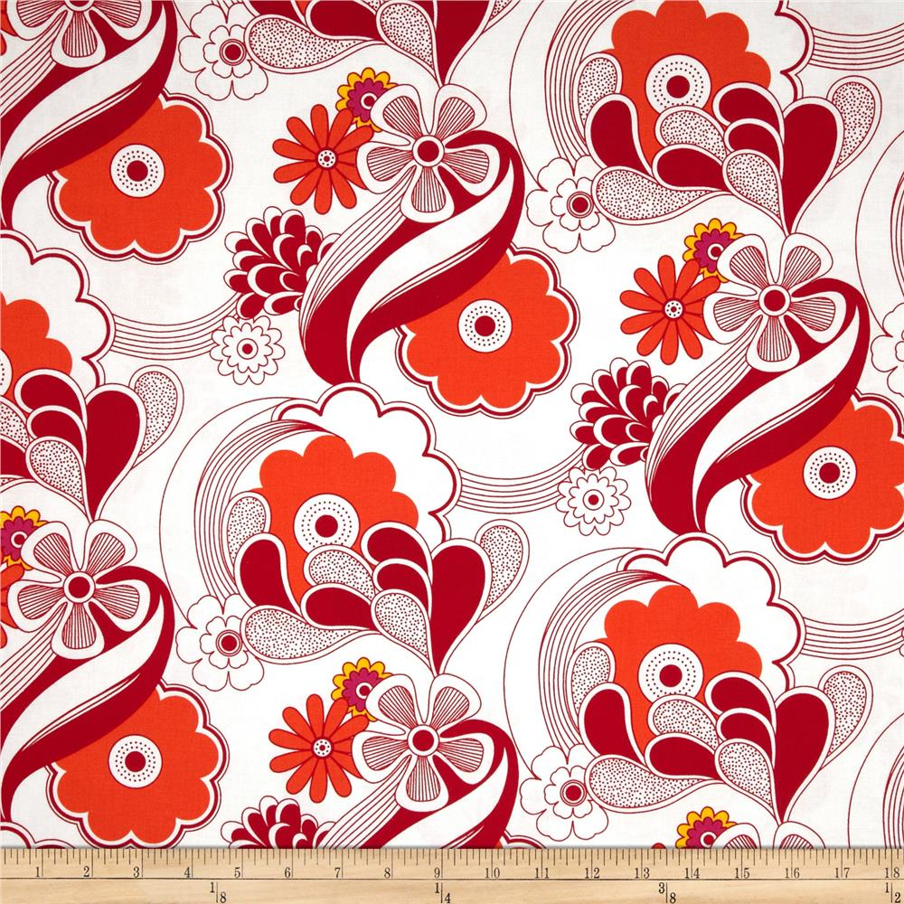 Auntie's Attic Floral Abstract Canvas Red