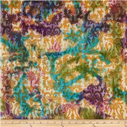 Indian Batiks Abstract Rust/Teal
