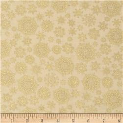 Golden Christmas Metallic Multi Snowflakes Cream