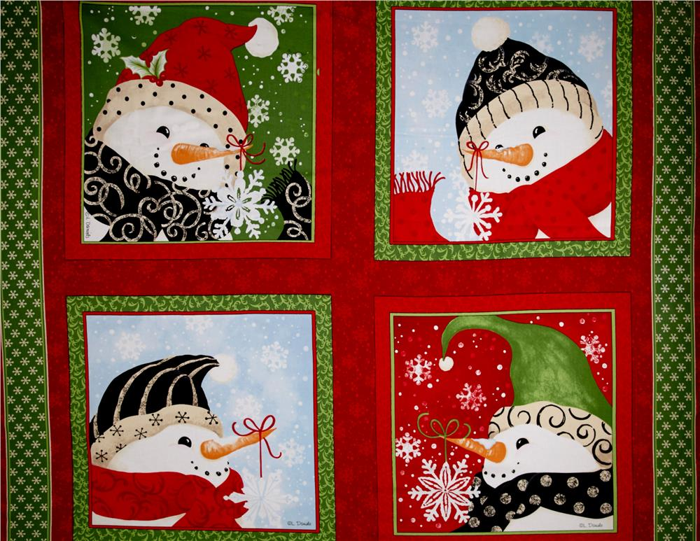Seasons Greetings Imagine Red Snowman 36 In. Panel Fabric By The Yard