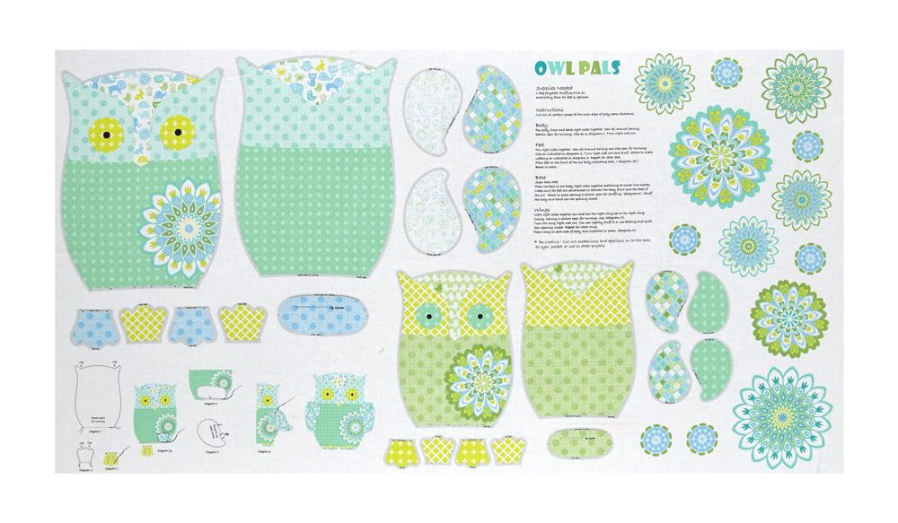 """Contempo Owls And Pals 23.5"""" Panel Light Green/Multi"""