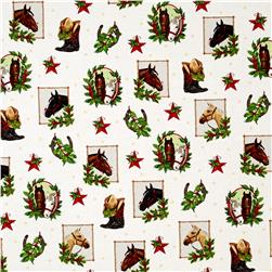 Kaufman Holly Jolly Christmas 5 Cowboy Collage Ivory