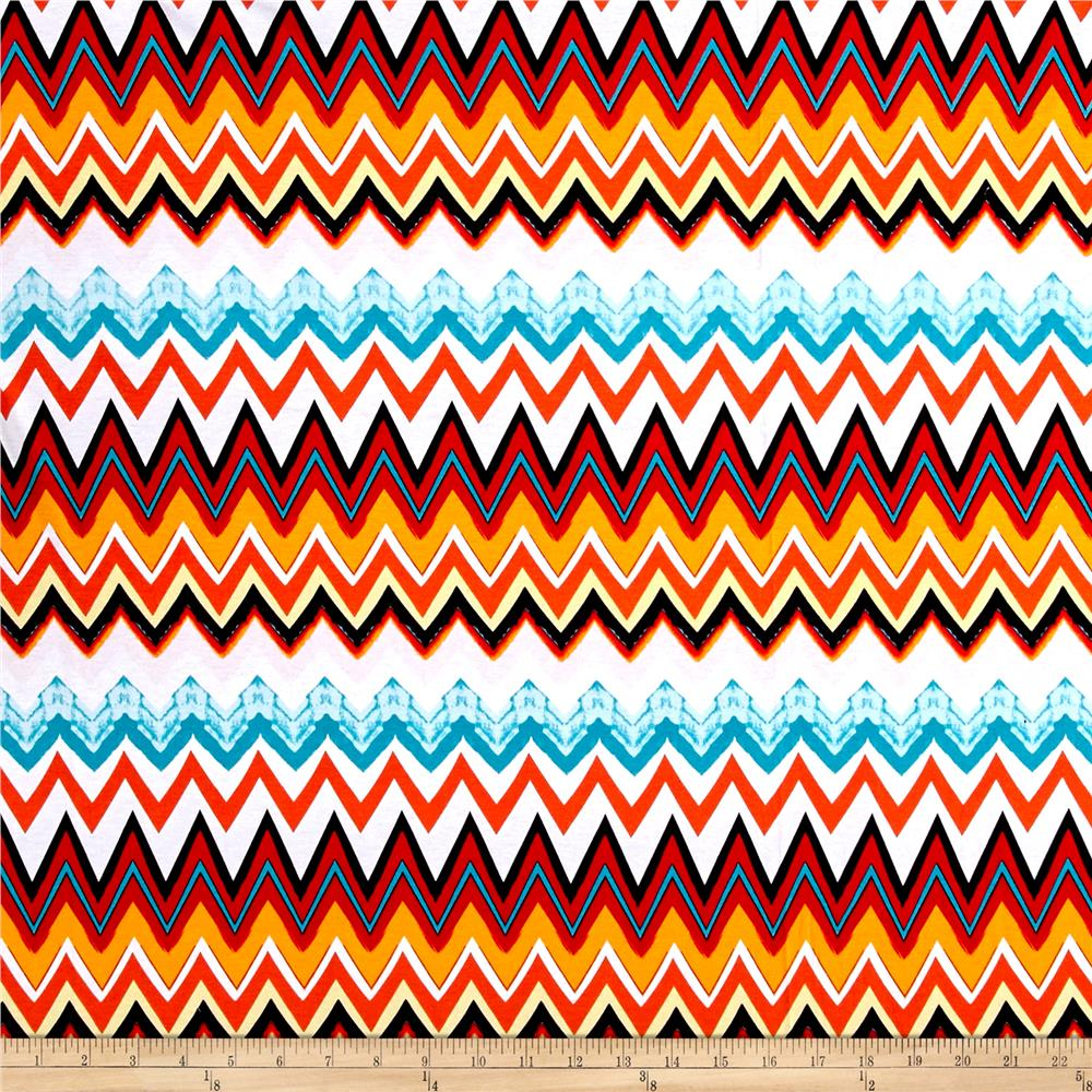 Jersey Knit Chevron Orange/Tea/Red/Whtie Fabric