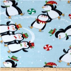 Printed Fleece Penguins Aqua