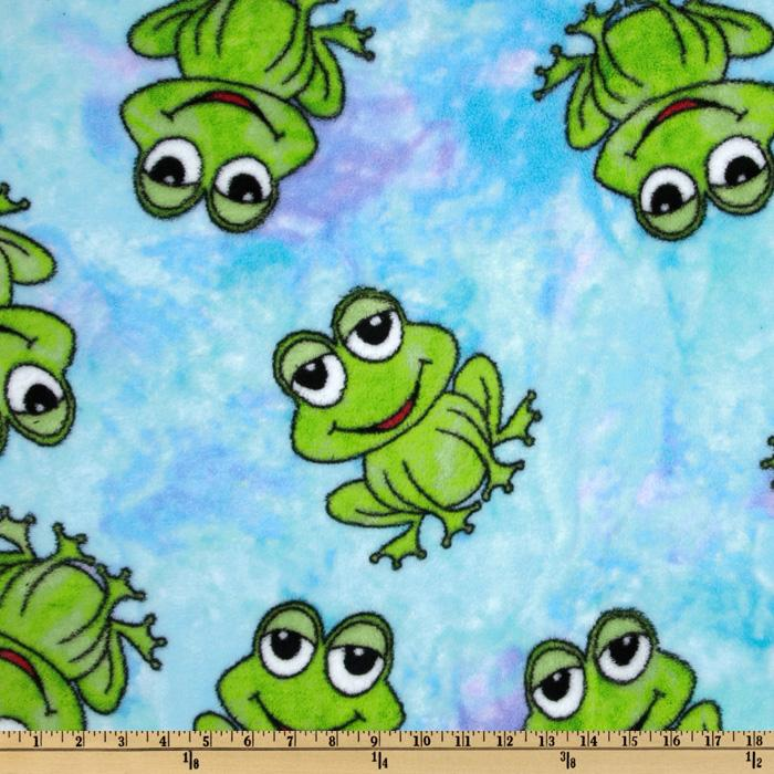 Coral Fleece Tossed Frogs Blue/Lime