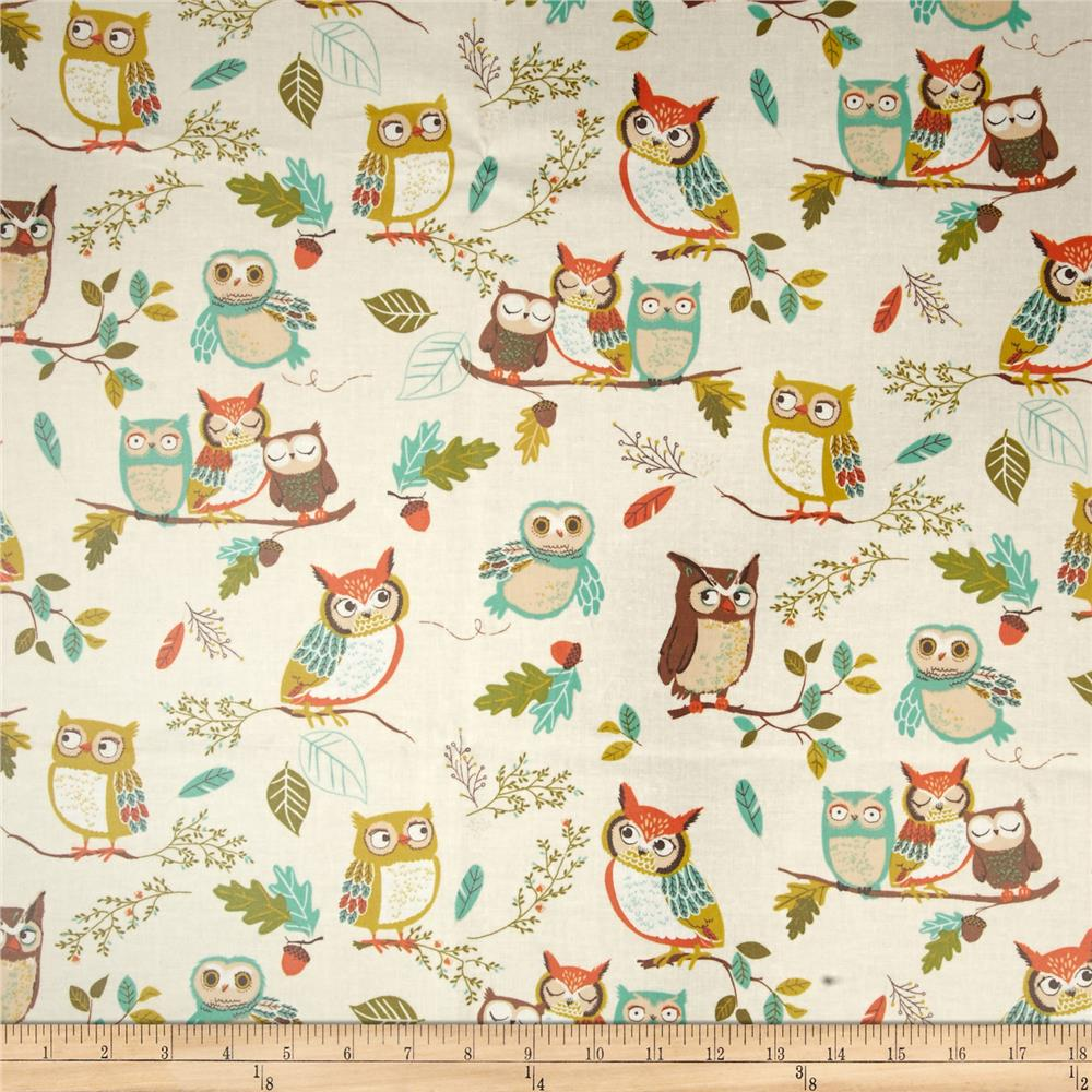 Kaufman Slicker Laminated Cotton Forest Fellows Owls Paek