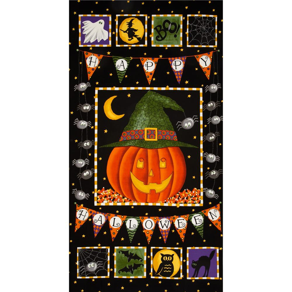Moda Pumpkin Party Panel Pumpkin Bat Black