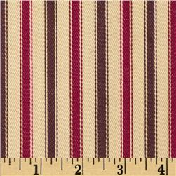 Textile Creations 54'' Yarn Dyed Ticking Stripe Twill Cranberry