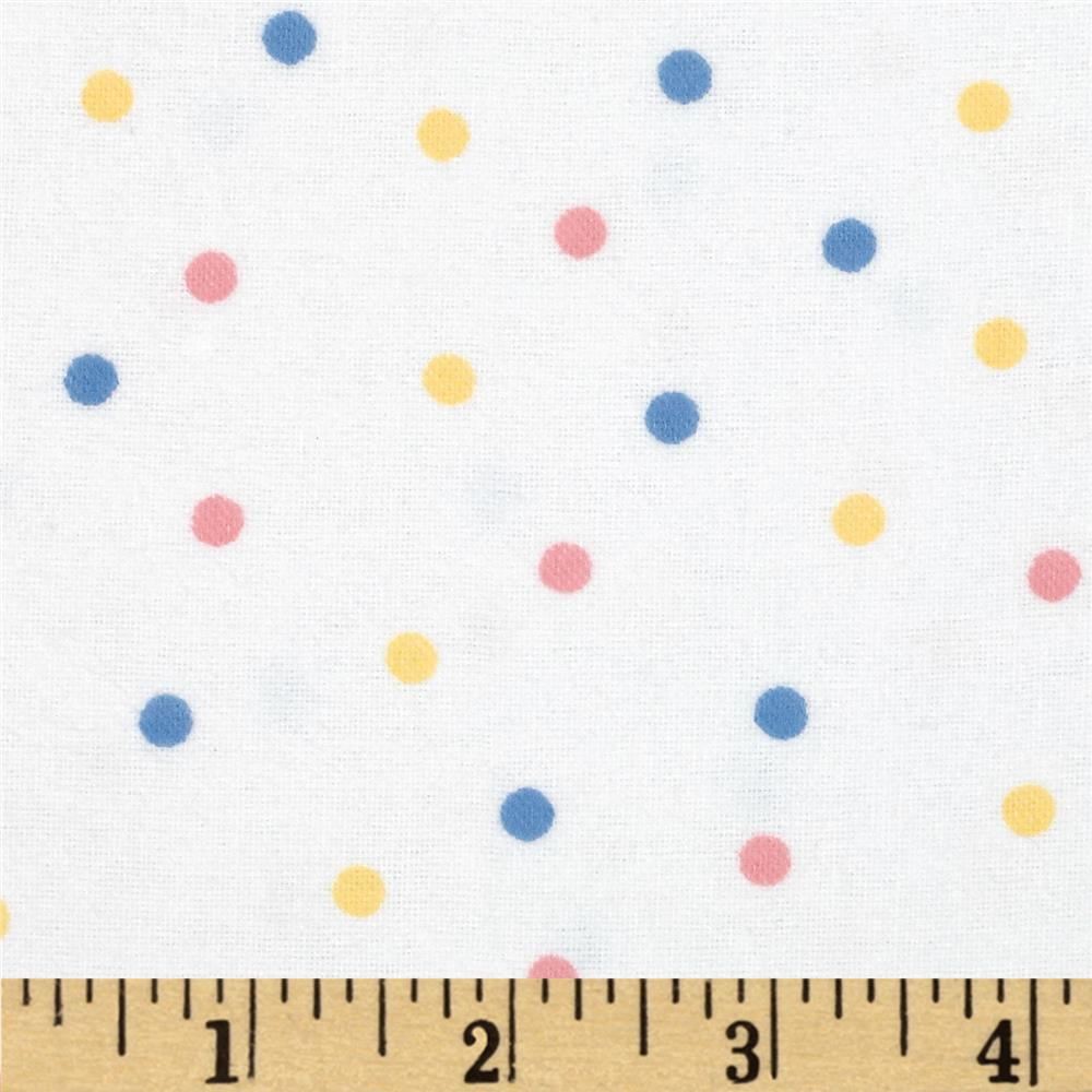 Aunt Polly's Flannel Small Polka Dots White/Multi