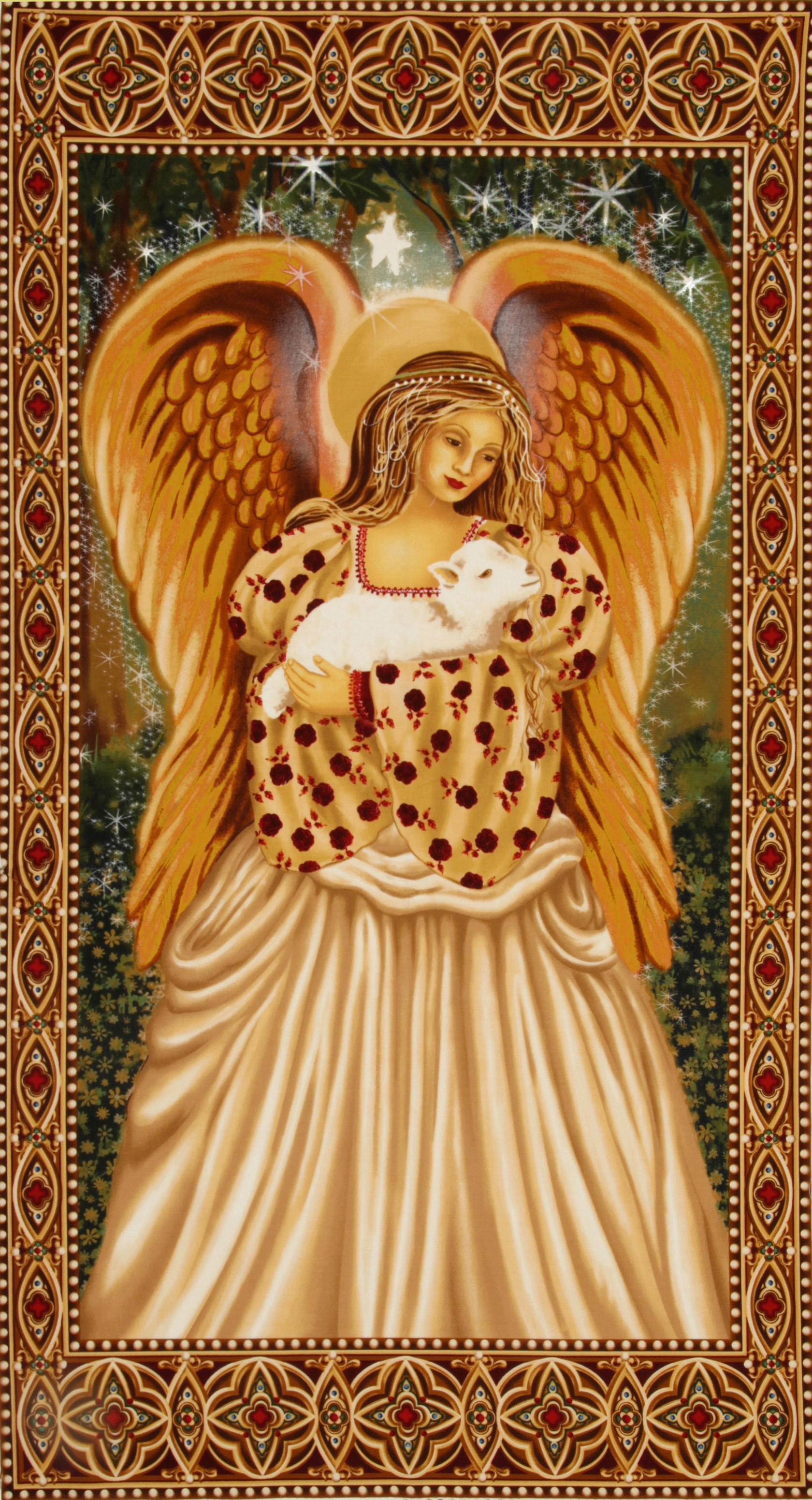 Michael Miller Golden Angel Panel Gold Fabric
