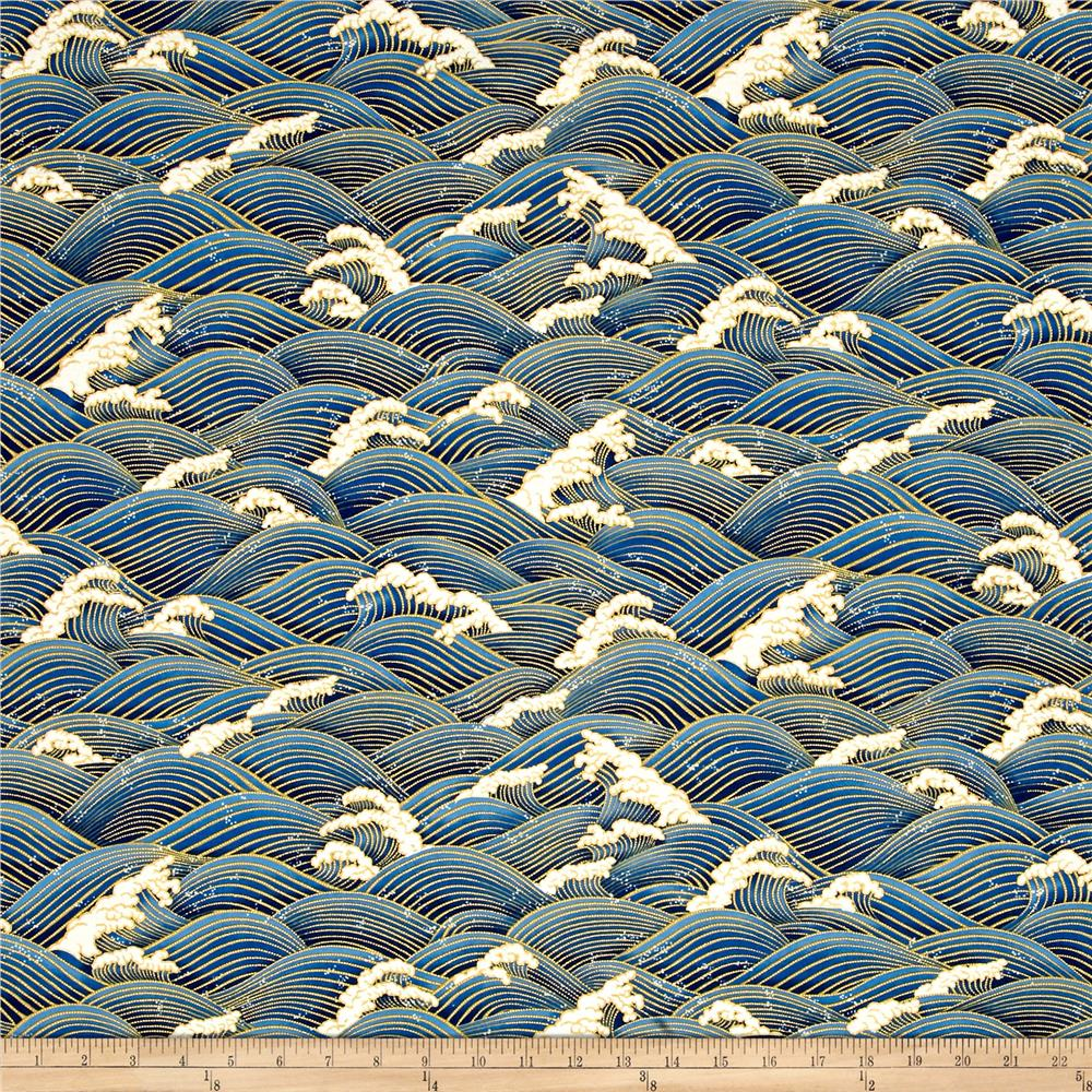 Zen garden metallic waves blue gold discount designer for Modern fabrics textiles