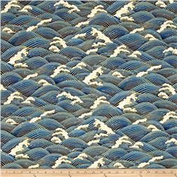 Zen Garden Metallic Waves Blue/Gold