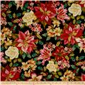 Winter Garden Metallic Christmas Floral Black
