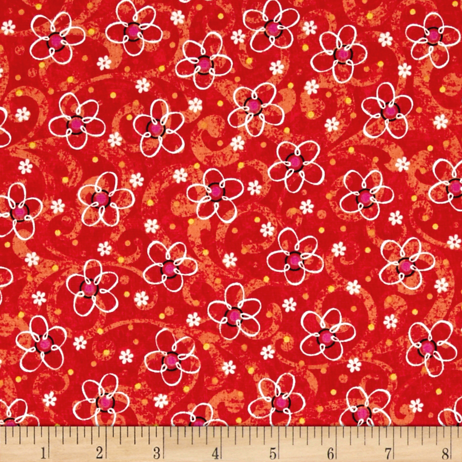 QT Fabrics Pecking Order Stencil Flower Red 0444878