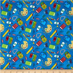 School Days School Supply Toss Blue Fabric