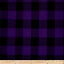 Hatchi Lightweight Sweater Knit Buffalo Check Plaid Deep Purple