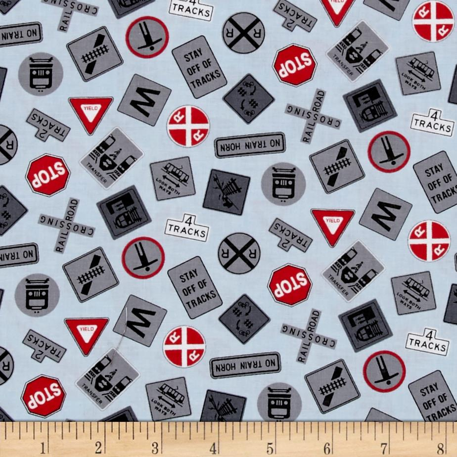 All aboard train signs blue discount designer fabric for Train print fabric