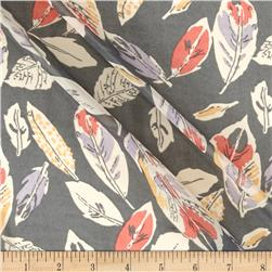 Polyester Prints Chiffon Feathers Grey
