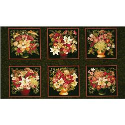 Holiday Opulence Floral Panel Green