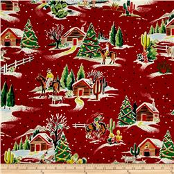 Alexander Henry Christmas Time Western Winter Red