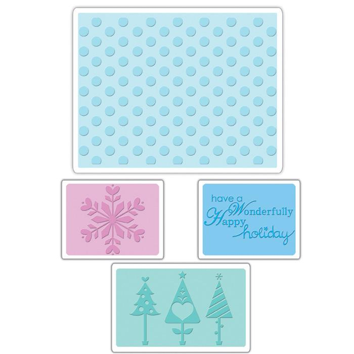 Sizzix Textured Impressions Embossing Folders 4 Pack-Winter Set