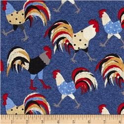 Cock-A-Doodle-Doo Tossed Rooster Navy