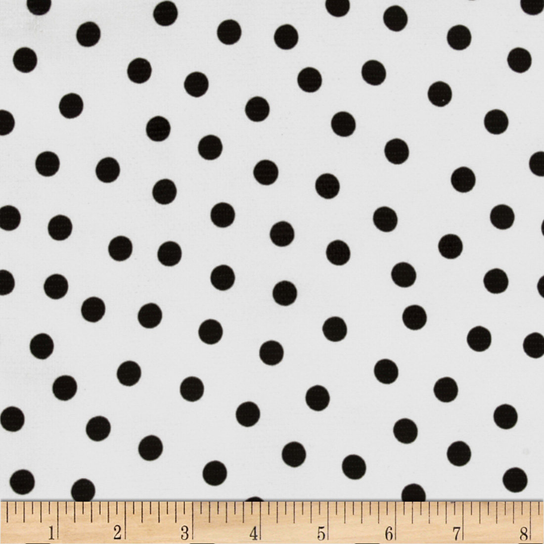 Oil Cloth Polka Dot White/Black Fabric