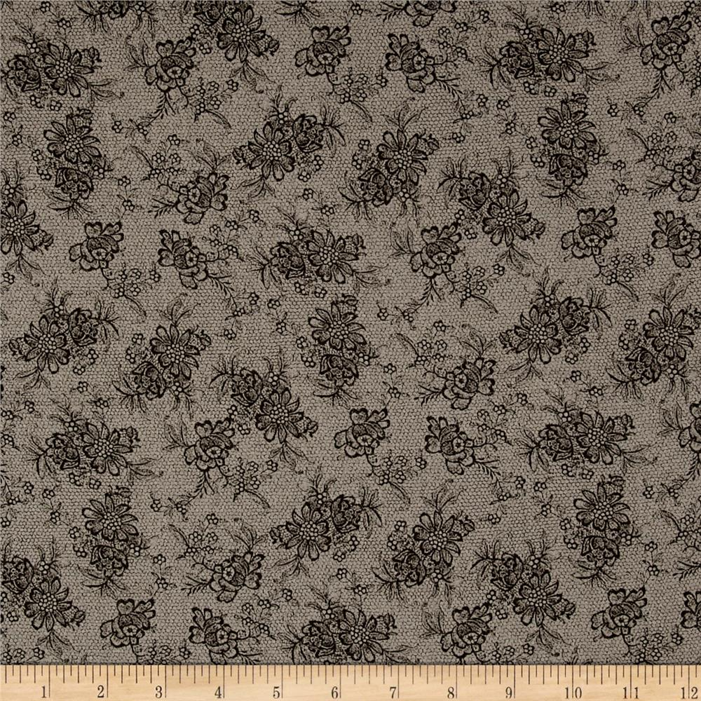 French Designer Cotton Voile Small Floral Taupe/Black