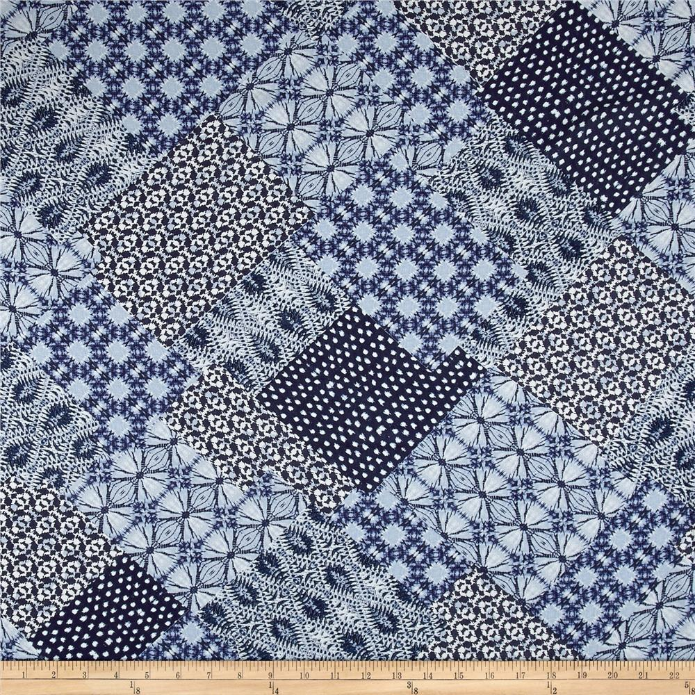 French Designer Rayon Crepe Tie Dye Patchwork Blue/White Fabric