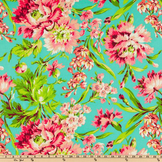 Amy Butler Love Bliss Bouquet Teal - Discount Designer Fabric - Fabric.com