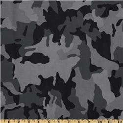 Stretch Satin Back Brushed Twill Camo Black/Gray