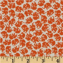 Michael Miller Little Elephants Toss Tangerine Fabric