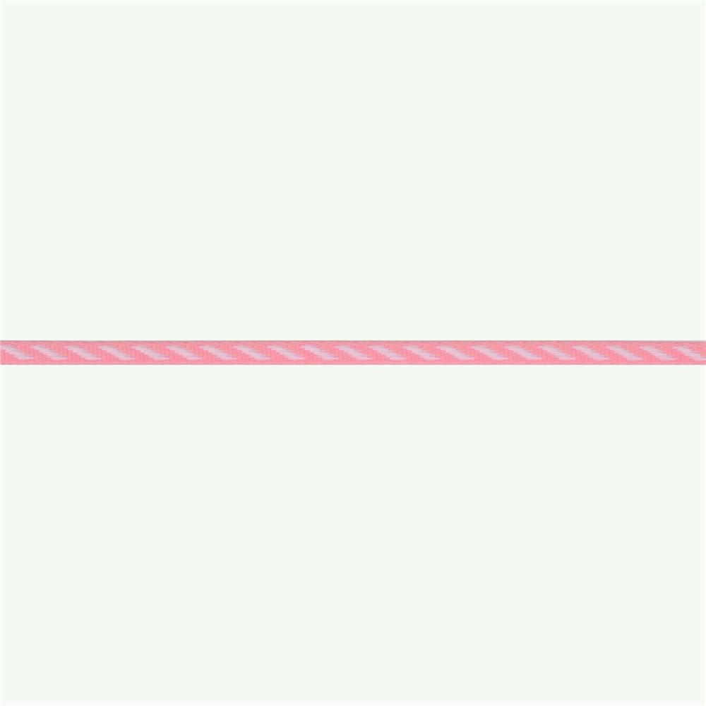 1/8'' Grosgrain Ribbon Diagonal Stripe Pink