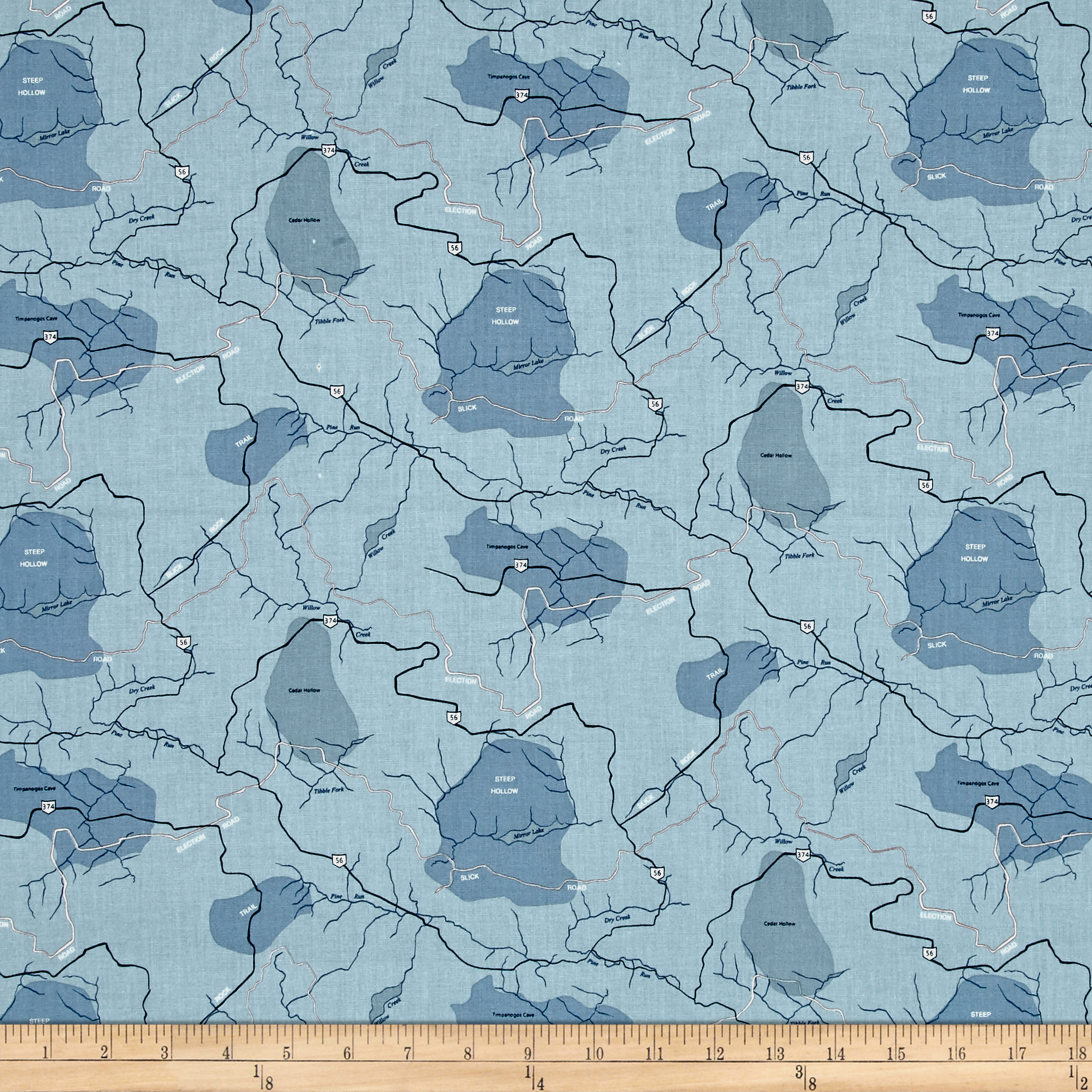 Riley Blake Jeep Map Blue Fabric
