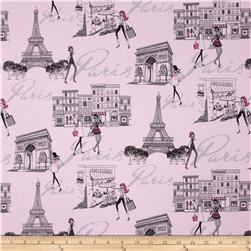 Timeless Treasures Fashionista Paris Scenic Pink